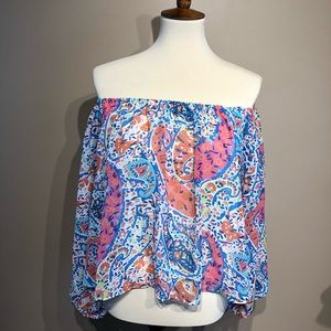 Adrienne Off the Shoulder Blouse Size Small